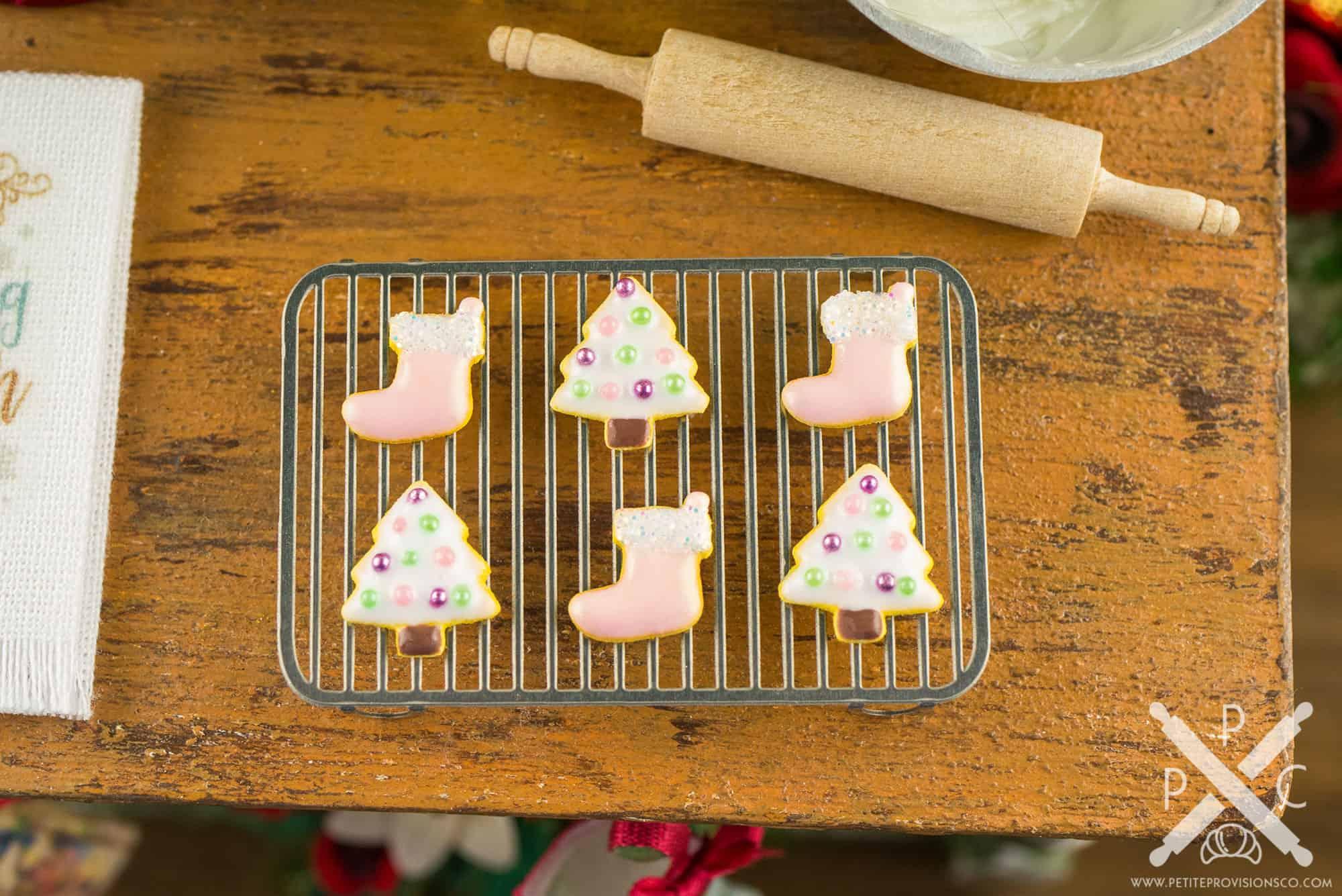 Dollhouse Miniature White Christmas Trees And Pink Stockings Cookies Half Dozen 1 12 Dollhouse Miniature The Petite Provisions Co