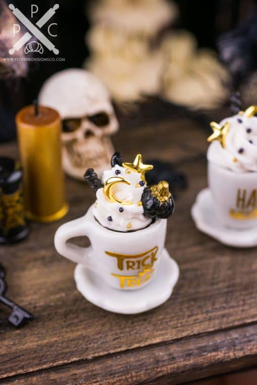Dollhouse Miniature Gothic Glam Black and Gold Halloween Coffee Cup - 1:12 Dollhouse Miniature Halloween Drink