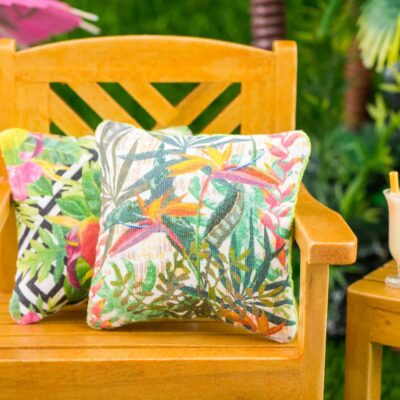 Dollhouse Miniature Tropical Bird of Paradise Pillow - 1:12 Dollhouse Miniature Throw Pillow
