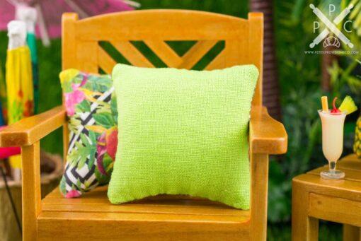 Dollhouse Miniature Tropical Bird of Paradise Pillow - 1:12 Dollhouse Miniature Throw Pillow