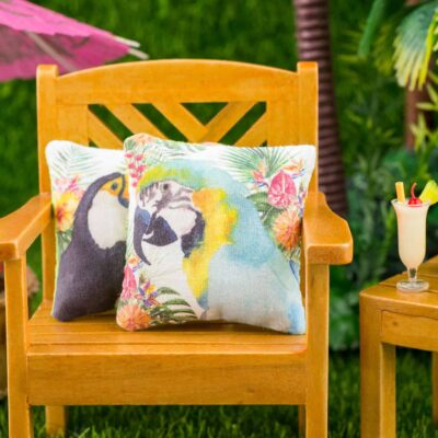 Dollhouse Miniature Tropical Blue and Yellow Macaw Pillow - 1:12 Dollhouse Miniature Throw Pillow