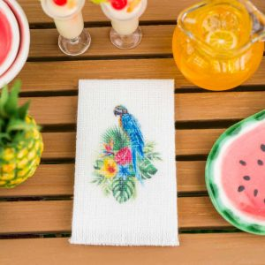 Tropical Blue and Yellow Macaw Tea Towel