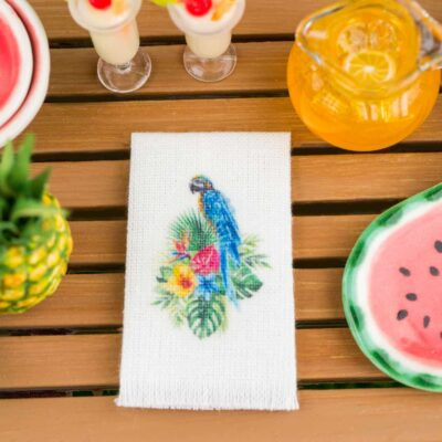 Dollhouse Miniature Tropical Blue and Yellow Macaw Tea Towel - 1:12 Dollhouse Miniature Kitchen Towel