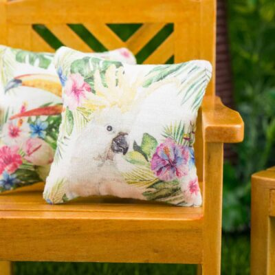 Dollhouse Miniature Tropical Cockatoo Pillow - 1:12 Dollhouse Miniature Throw Pillow