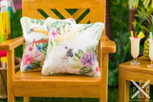 Dollhouse Miniature Tropical Cockatoo Pillow - 1:12 Dollhouse Miniature Throw Pillow