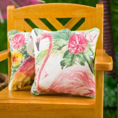 Dollhouse Miniature Tropical Flamingo Pillow - 1:12 Dollhouse Miniature Throw Pillow
