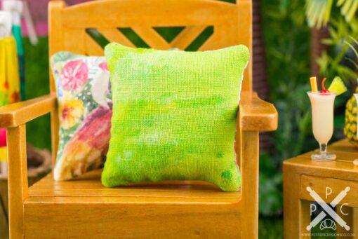 Dollhouse Miniature Tropical Flamingo Pillow - 1:12 Dollhouse Miniature Throw Pillow