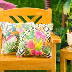 Tropical Flowers on Geometric Background Pillow