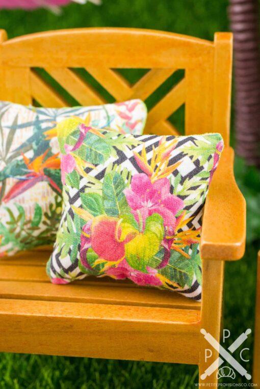 Dollhouse Miniature Tropical Flowers on Geometric Background Pillow - 1:12 Dollhouse Miniature Throw Pillow