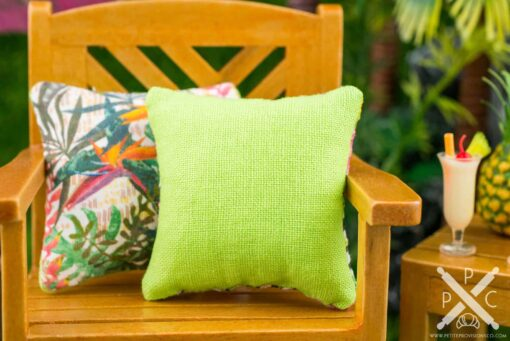 Dollhouse Miniature Tropical Flowers on Geometric Background Pillow - 1:12 Dollhouse Miniature Throw Pillow