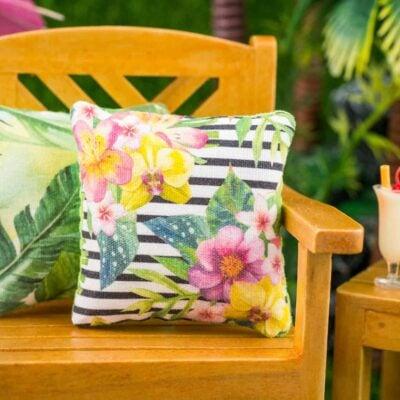 Dollhouse Miniature Tropical Flowers on Striped Background Pillow - 1:12 Dollhouse Miniature Throw Pillow