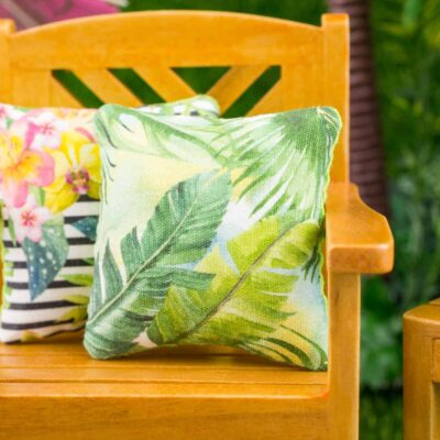 Dollhouse Miniature Tropical Palms Pillow - 1:12 Dollhouse Miniature Throw Pillow