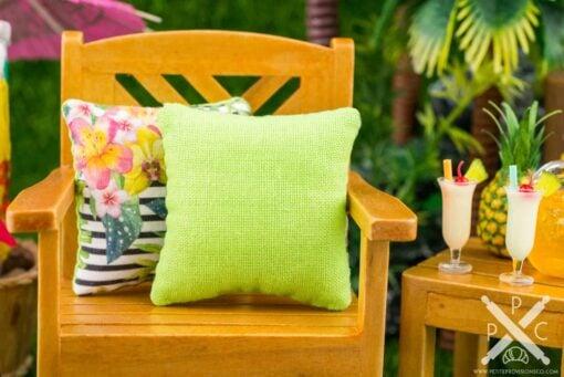 Dollhouse Miniature Tropical Palms Pillow - 1:12 Dollhouse Miniature Throw Pillow