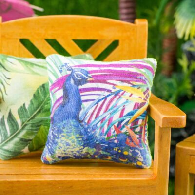 Dollhouse Miniature Tropical Peacock Pillow - 1:12 Dollhouse Miniature Throw Pillow