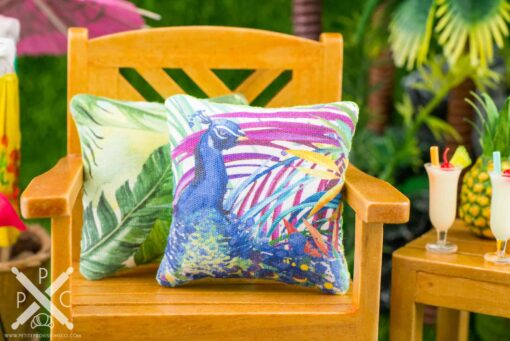 Dollhouse Miniature Tropical Peacock Pillow - 1:12 Dollhouse Miniature Throw Pillow