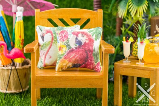 Dollhouse Miniature Tropical Scarlet Macaw Pillow - 1:12 Dollhouse Miniature Throw Pillow