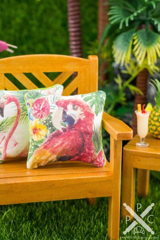 Dollhouse Miniature Tropical Scarlet Macaw Pillow - 1:12 Dollhouse Miniature Throw Pillow
