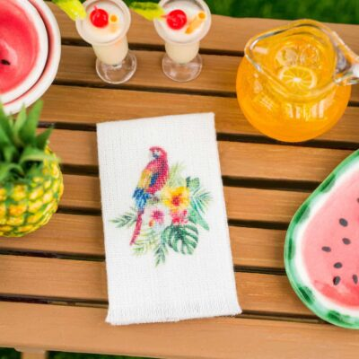 Dollhouse Miniature Tropical Scarlet Macaw Tea Towel - 1:12 Dollhouse Miniature Kitchen Towel