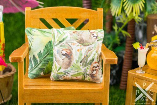 Dollhouse Miniature Tropical Sloth Pillow - 1:12 Dollhouse Miniature Throw Pillow