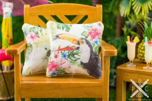 Dollhouse Miniature Tropical Toucan Pillow - 1:12 Dollhouse Miniature Throw Pillow