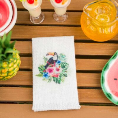 Dollhouse Miniature Tropical Toucan Tea Towel - 1:12 Dollhouse Miniature Kitchen Towel