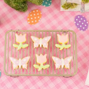 Spring Tulips and Butterflies Cookies – Half Dozen – 1:12 Dollhouse Miniature