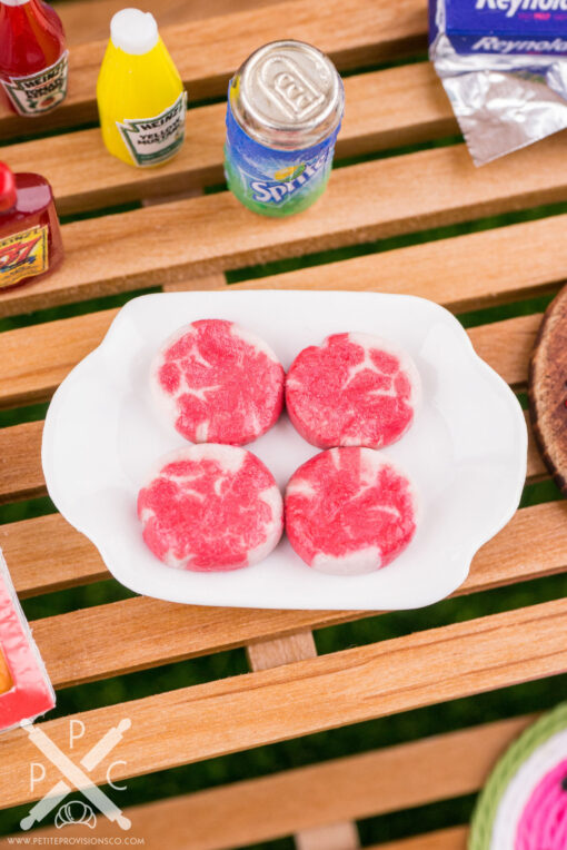Dollhouse Miniature Filet Mignons Uncooked - Raw Filet Mignons - 1:12 Dollhouse Miniature Steaks