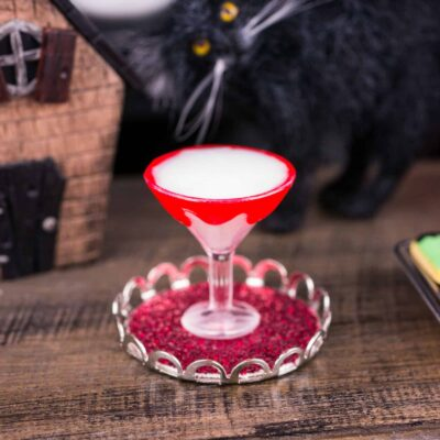 Dollhouse Miniature Vampire's Kiss Halloween Martini on Tray - 1:12 Dollhouse Miniature Cocktail