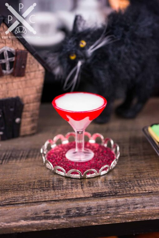 Dollhouse Miniature Vampire's Kiss Halloween Martini on Tray - 1:12 Dollhouse Miniature Cocktail