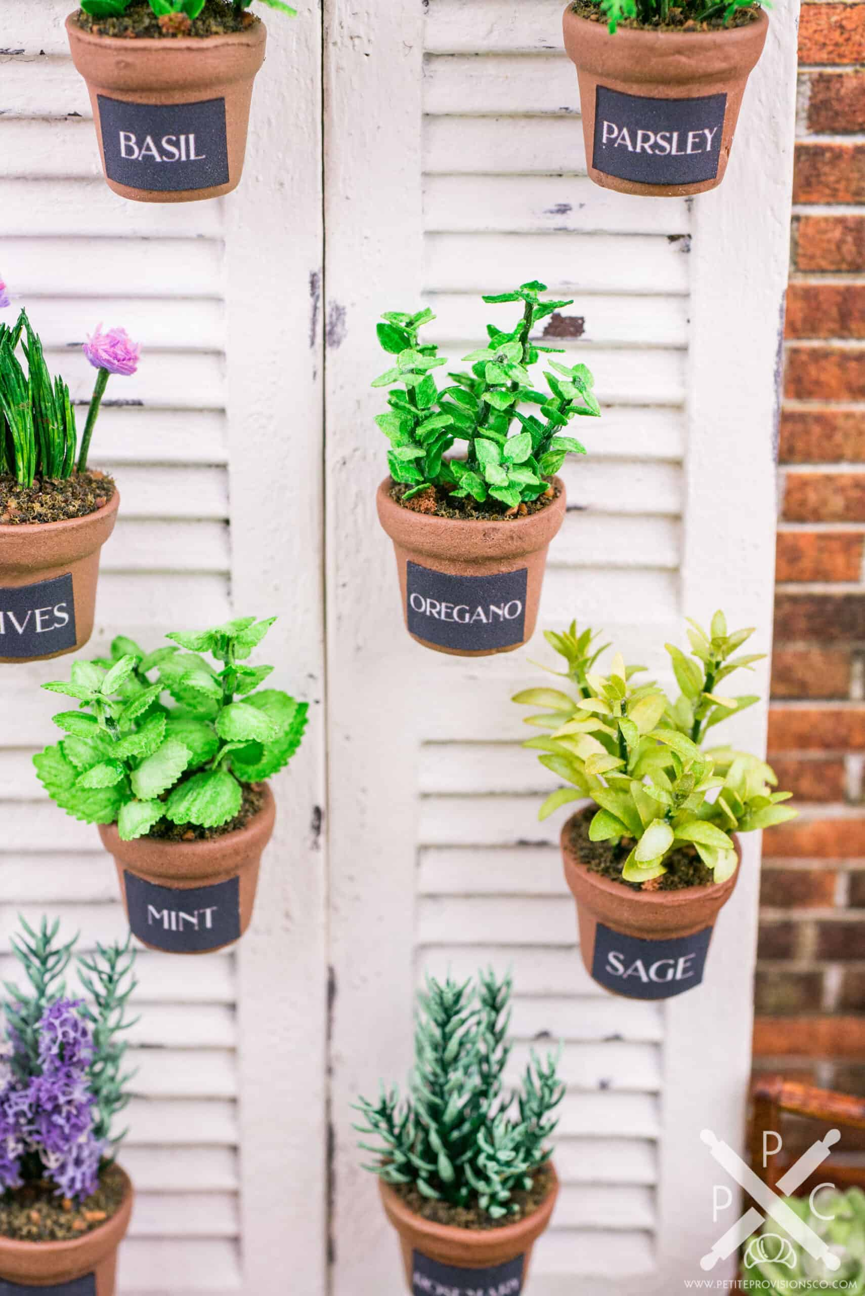 1:12 scale handmade herbs in pots on window shutters