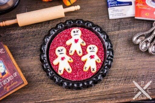 Dollhouse Miniature Voodoo Cookies on Tray - 1:12 Dollhouse Miniature Halloween Cookies