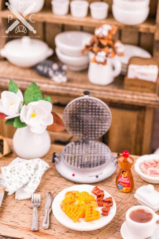 Dollhouse Miniature Waffles with Extra Crispy Bacon - 1:12 Dollhouse Miniature Waffles - Dollhouse Breakfast