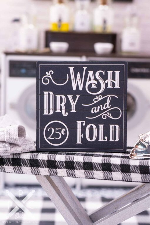 Dollhouse Miniature Farmhouse Wash Dry and Fold Sign - 1:12 Dollhouse Miniature Laundry Room Sign
