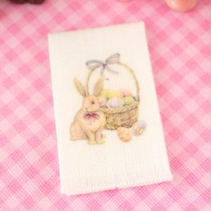 Easter Bunny and Basket Tea Towel – Easter Kitchen Towel – 1:12 Dollhouse Miniature
