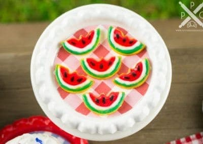 Watermelon Iced Cookies on Tray