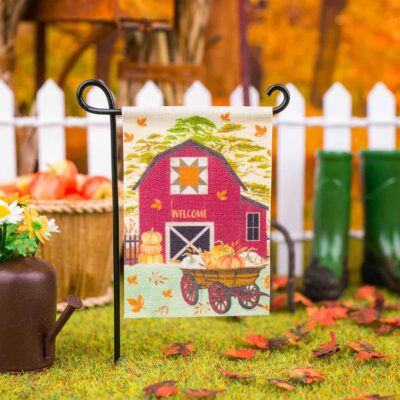 Dollhouse Miniature Fall Barn Welcome Garden Flag - 1:12 Dollhouse Miniature Garden Flag