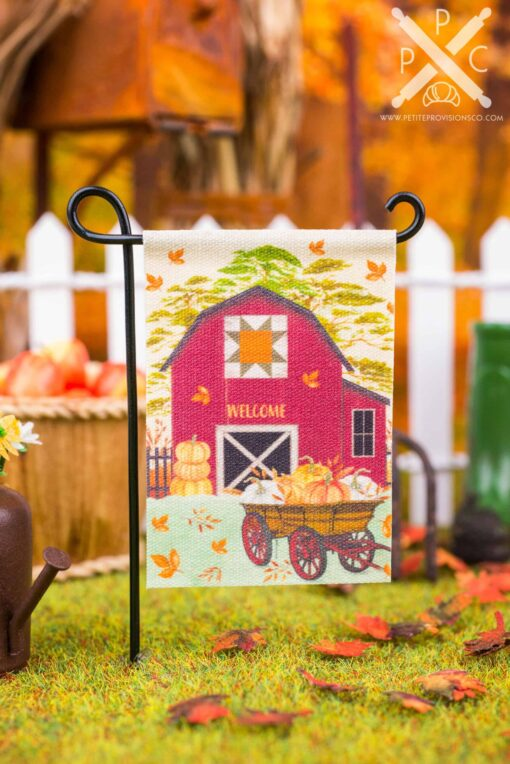 Dollhouse Miniature Fall Barn Welcome Garden Flag - 1:12 Dollhouse Miniature Garden Flag