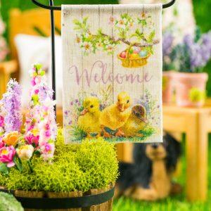 Welcome Ducklings Easter Garden Flag