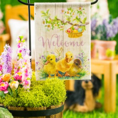 Dollhouse Miniature Welcome Ducklings Easter Garden Flag