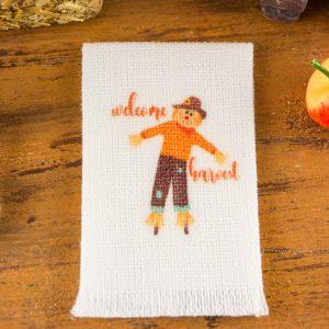 Welcome Harvest Scarecrow Tea Towel