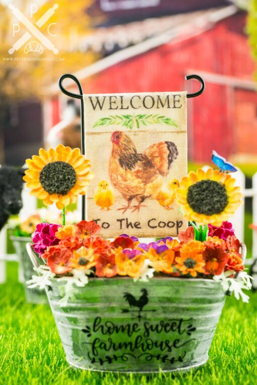 Dollhouse Miniature Welcome to the Coop Chickens Garden Flag - 1:12 Dollhouse Miniature Garden Flag