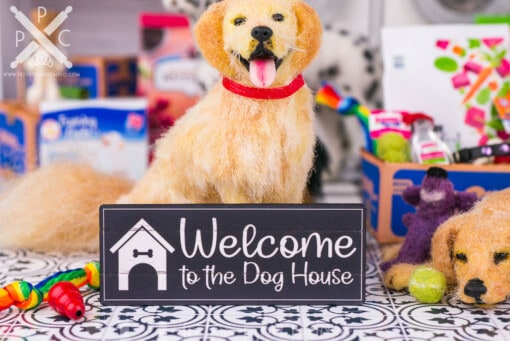 Dollhouse Miniature Welcome to the Dog House Sign - 1:12 Dollhouse Miniature Sign - Farmhouse Decor