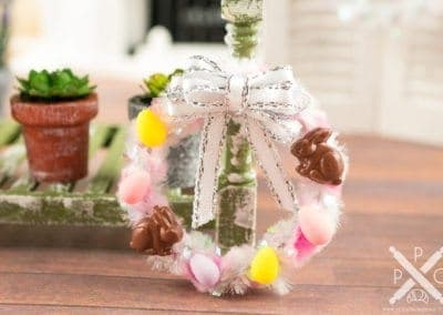 White and Pink Easter Wreath with Eggs and Chocolate Bunnies