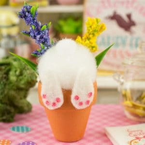 Curious Bunny in a Flower Pot – Easter Decoration – Spring Decoration – 1:12 Dollhouse Miniature