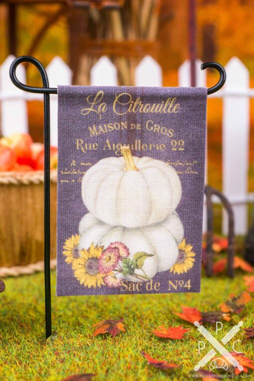 Dollhouse Miniature White Pumpkins Autumn Garden Flag - 1:12 Dollhouse Miniature Garden Flag