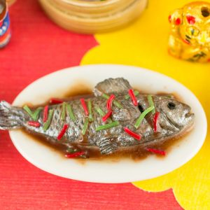 Chinese Whole Steamed Fish – Chinese New Year – Lunar New Year – 1:12 Dollhouse Miniature