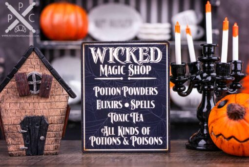 Dollhouse Miniature Wicked Magic Shop Sign - 1:12 Dollhouse Miniature Halloween Sign - Halloween Miniatures
