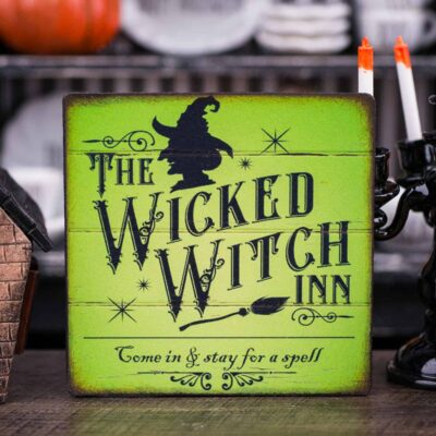 Dollhouse Miniature The Wicked Witch Inn Sign - 1:12 Dollhouse Miniature Halloween Sign - Halloween Miniatures