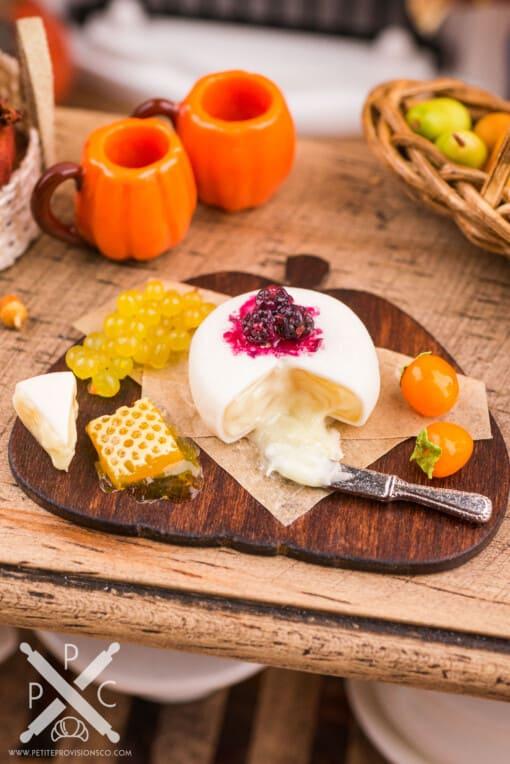 Dollhouse Miniature Autumn Pumpkin Cheese Board with Fruit and Brie - 1:12 Dollhouse Miniature Cheese Board