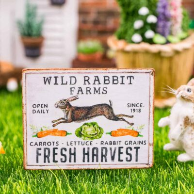 Dollhouse Miniature Wild Rabbit Farms Sign - Decorative Easter Sign - 1:12 Dollhouse Miniature Spring Sign